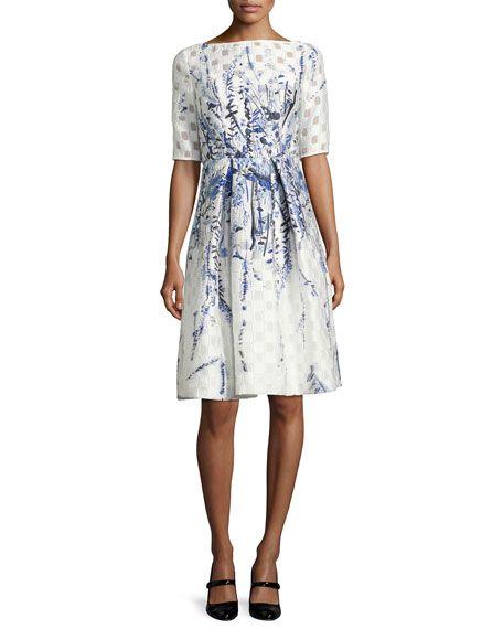LELA ROSE Floral-Embroidered Pleated Cocktail Dress, Blue Pattern. #lelarose #cloth #