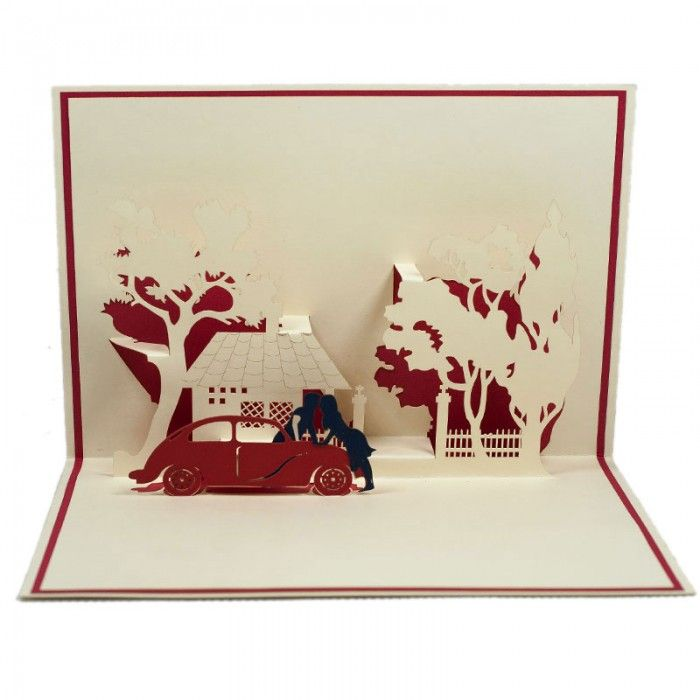 Car Date Pop Up Card  Car Date 3D Card has a white cover that features a lovely kissing couple. The image hints just a little at the sweet surprise inside. Open the card and you will find a stunning three-dimensional sculpture of a romantic kiss after a great car date. We always leave the card blank so that you can personalize your own words.