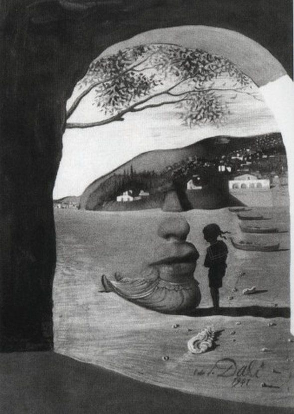❞The Mysterious Lips that Appeared on the Back of my Nurse❝ de 1941 por ►Salvador Dali◄