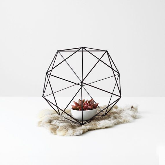 Orb Himmeli with Cup or Vase / Rigid Straw / Geometric Tabletop Sphere / Minimalist Home Decor