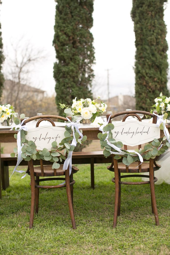 """My darling wife"" and ""my darling husband"" chair signs"