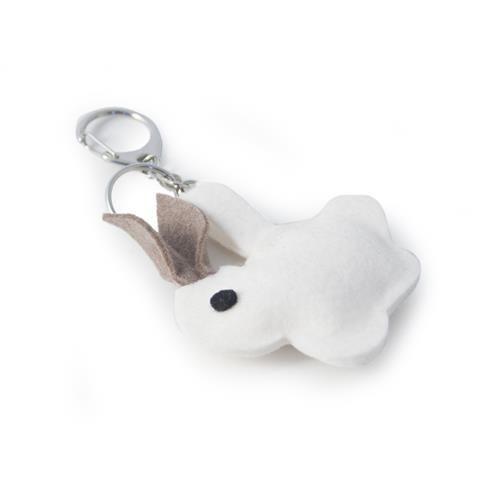 PORTACHIAVI CONIGLIETTO  -  Portachiavi con coniglietto in lana cotta. Lungh: 13 cm.