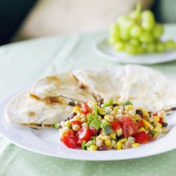 A hearty Spicy Chicken Quesadilla paired with crisp, cool Black bean & Corn Salsa.