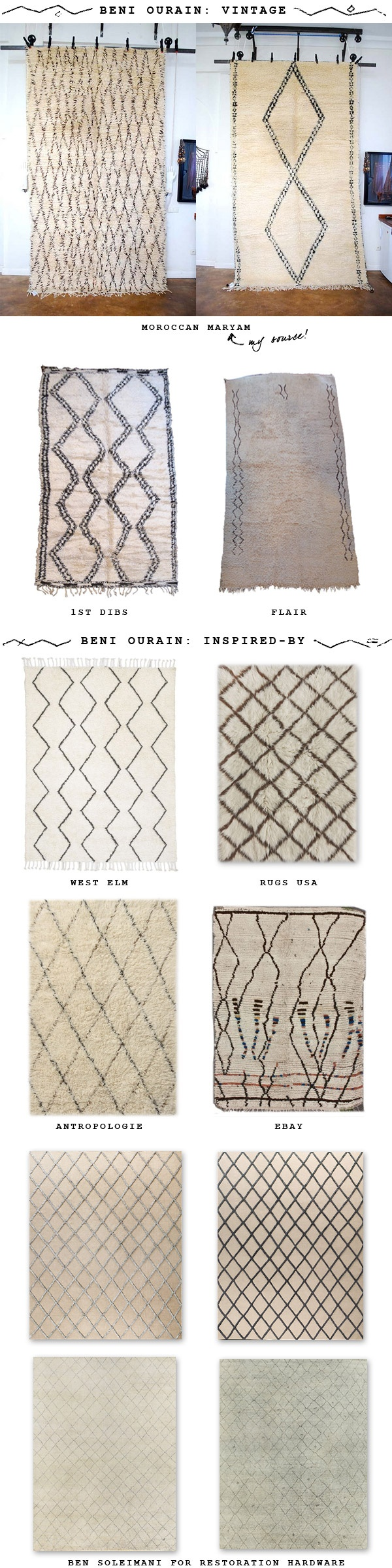 Ben Ourain inspired rugs and sources