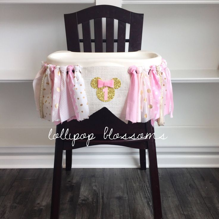 Pink and gold Minnie Mouse high chair banner! Minnie Mouse smash cake, birthday, wall banner.