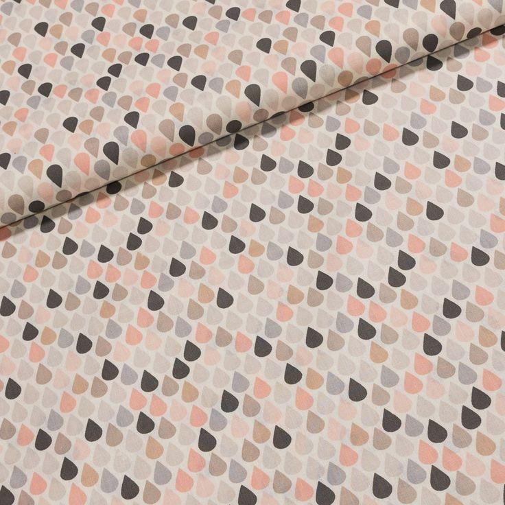 Bavlněné plátno 203000/D0465 ROSE růžovo-šedé kapky na béžové, š.140cm (látka v metráži) | Internetový obchod Chci Látky.cz