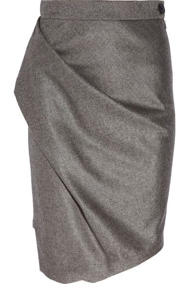 Vivienne Westwood Anglomania Philosophy pencil skirt: gray wool-blend, fitted waistband, draping at side, asymmetric back hem. Button and concealed zip fastening at side. 50% wool, 45% polyester, 5% cashmere. Dry clean.