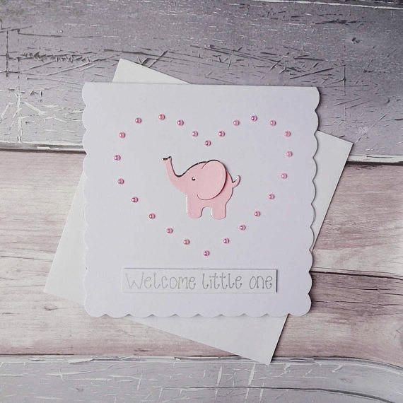 New baby card / Handmade baby girl card / Elephant new baby