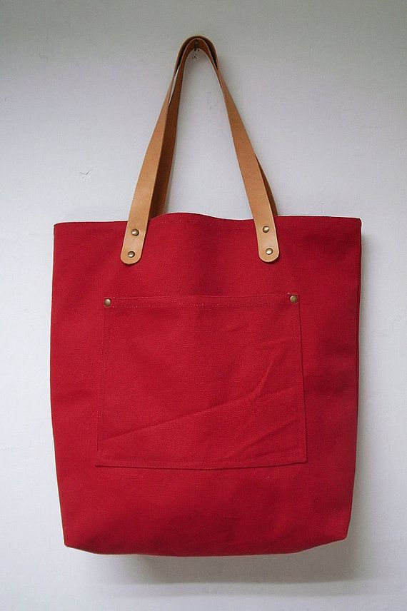 Leathinity - Red Canvas Tote Bag w/ Genuine Leather Handles - Eco Friendly
