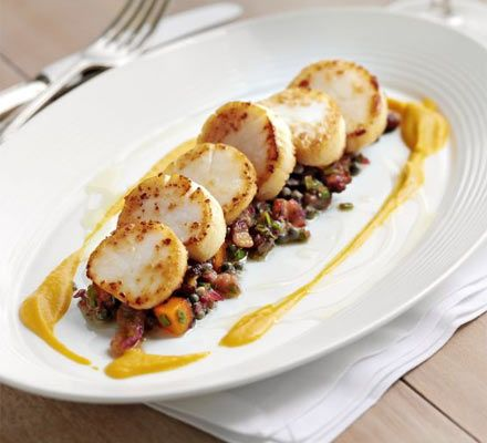 October 2, 2012 is National Fried Scallops Day: Serve up a restaurant-style starter at home and much of it can be made ahead so you can relax with a glass of wine on the night - Pan-fried scallops with butternut squash two ways