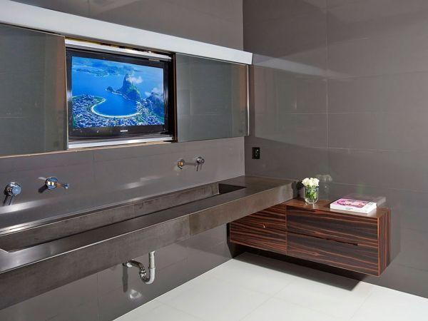 Fernseher Badezimmer Edelstahl Waschbecken