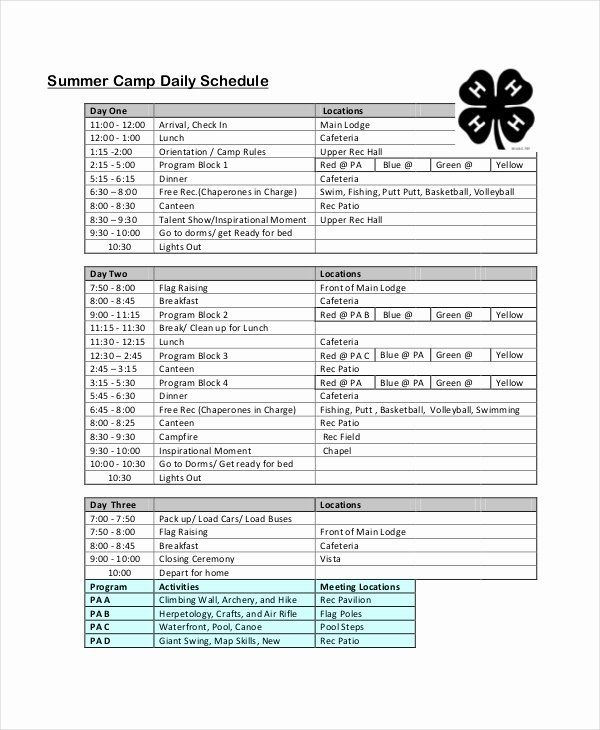 Summer Camp Daily Schedule Template Fresh Daily Schedule Template 9 Free Word Pdf Documents Schedule Template Daily Schedule Template Schedule Templates