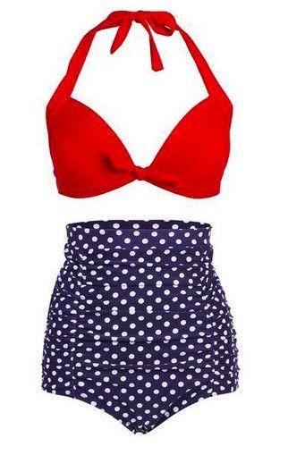 2016 Tankini Women Retro Plus Size Vintage Sexy High Waist Bikinis Set Swimsuit Swimwear Bathing Suit Beachwear Bikini