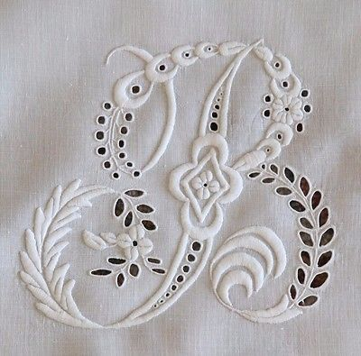 Antique-Fine-French-Layover-Euro-Pillow-Sham-Fabulous-Monogram-B