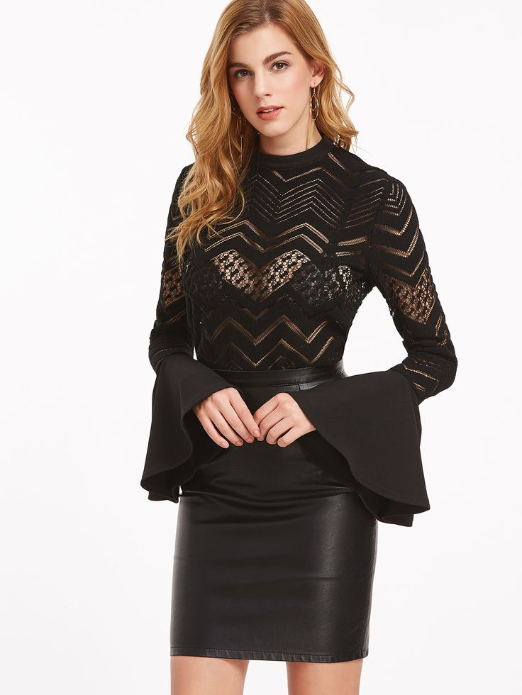 Shop Black Button Back Bell Sleeve Sheer Chevron Blouse online. SheIn offers Black Button Back Bell Sleeve Sheer Chevron Blouse & more to fit your fashionable needs.