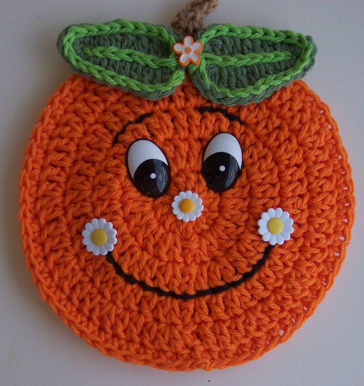 Cute Crochet Orange Potholder - use photo for inspiration (no pattern)