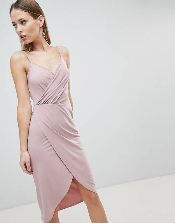 7ae895ea2dfde3 ASOS DESIGN Cami Drape Cowl Back Slinky Midi Dress
