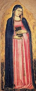 Madonna del parto, tavola di ignoto di scuola giottesca (1320 circa), Museo dell'Opera del Duomo, Prato.