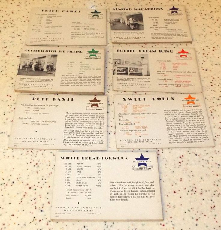 Vintage Armour Research Bakery Chicago Stockyards Recipe Cost Production Cards