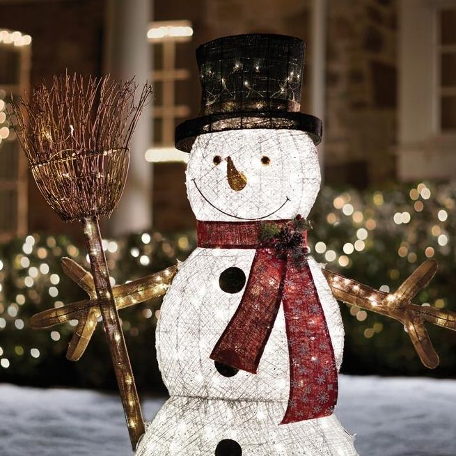 Illuminate Your Yard Or Any Corner Of Your Home With This Elegant Home  Accents Holiday LED Lighted PVC Cotton String Snowman With Broom.
