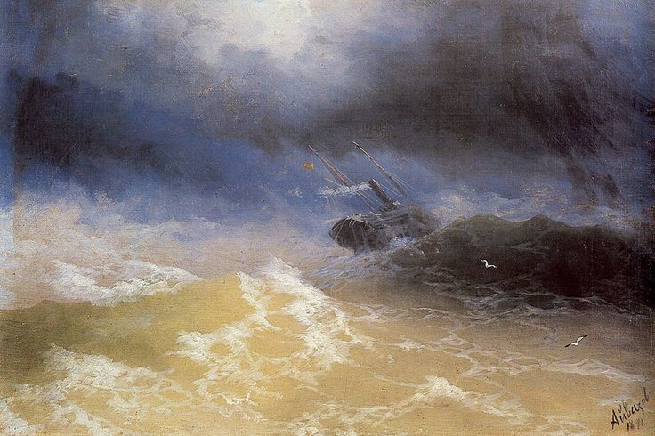 Ivan Konstantinovich Aivazovsky. Hurricane on a Sea, Original Size: 40 x 60 cm, Date: 1899. Buy this painting as premium quality canvas art print from Modarty Art Gallery. #art, #canvas, #design, #painting, #print, #poster, #decoration