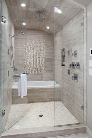 Contemporary Master Bathroom with Rain shower, specialty tile floors, Master bathroom, frameless showerdoor, High ceiling