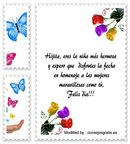 saludos por el dia de la mujer,frases bonitas por el dia de la mujer: http://www.consejosgratis.es/mensajes-por-el-dia-de-la-mujer-para-una-madre-soltera/