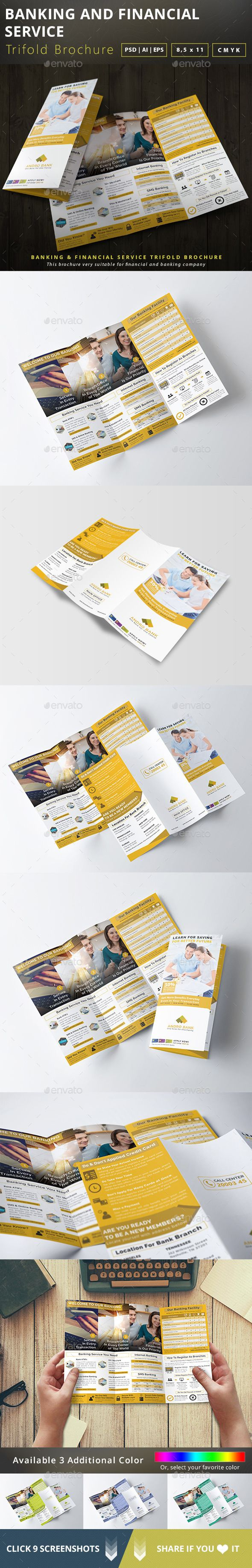 Banking and Financial Service Trifold Brochure  #credit card #deposit #finance b…