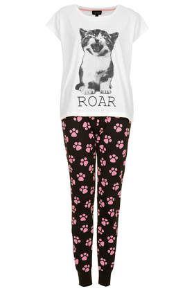 Cat Print Pyjama Set - Nightwear - Clothing - Topshop