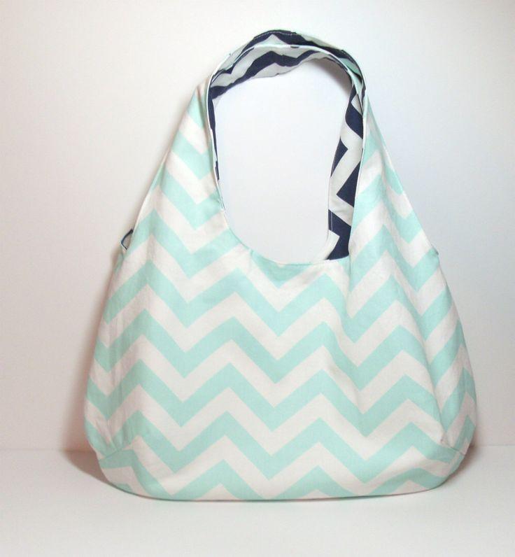 Mint Reversible Bag, Navy Reversible Bag, Reversible Hobo Bag, Customize, Large Hobo Bag, Large Mint Bag, Casual Mint Bag, Navy Chevron Bag by jayciMay on Etsy https://www.etsy.com/listing/201860264/mint-reversible-bag-navy-reversible-bag