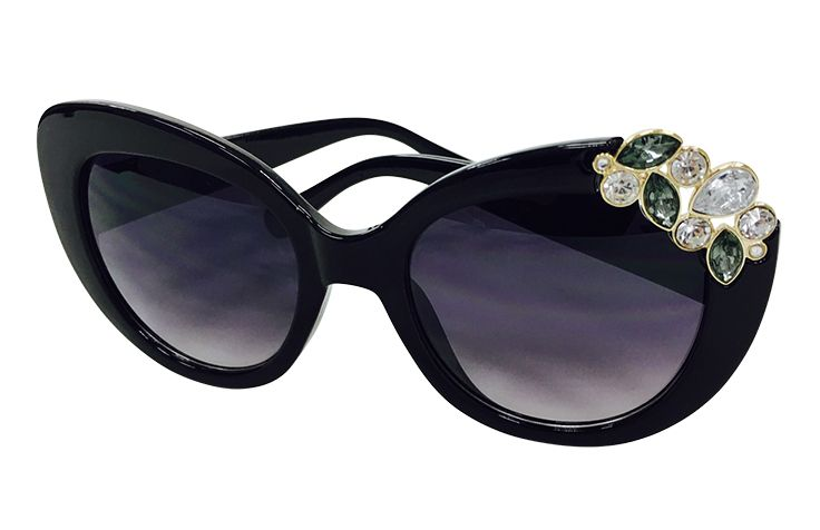 Black Sunglasses with Jewels at Right Upper Corner $12.99 Shoes by Lara  703-416-4162