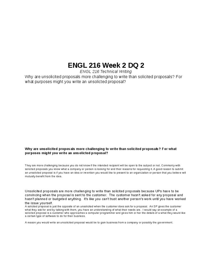 ENGL 216 Week 2 DQ 2 ENGL 216 Technical Writing Pinterest - unsolicited proposal template