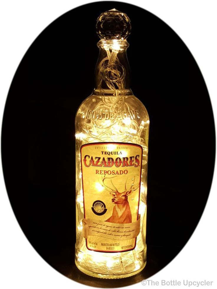 Upcycled Cazadores Tequila Mood Therapy Liquor Bottle Light with Warm White LED's - http://www.bottleupcycler.com/shop/mood-therapy-upcycled-liquor-bottle-lights/upcycled-cazadores-tequila-mood-therapy-liquor-bottle-light-with-warm-white-leds/