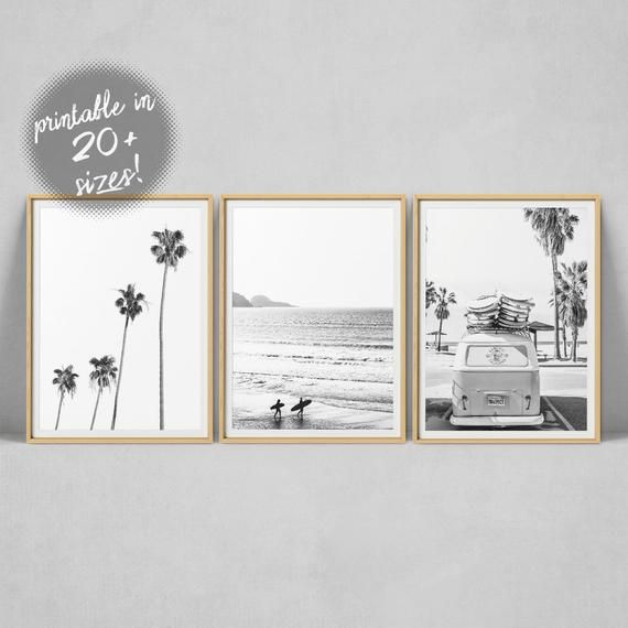 Surf Print, Set of 3, Black And White, Beach Print, Tropical Print, Van Print Palm Print Wall Art Beach Photography Surf Poster Gallery Wall – Anna
