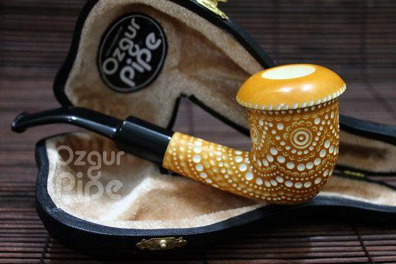 Enrejado de la pipa de tabaco Calabash colección de arte hecho a mano de la espuma de mar / fumando pipa