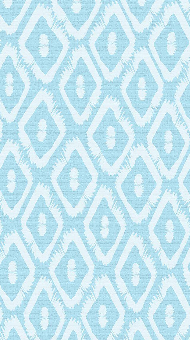 Pastel Blue White Ikat Pattern Iphone Phone Wallpaper Background Lock Screen