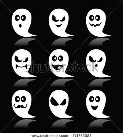 Halloween ghost vector icons set on black backgroud #scary