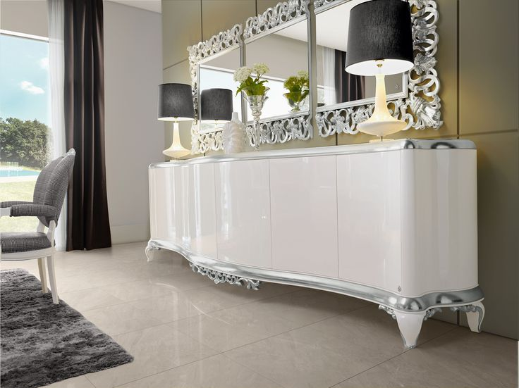 Capri white sideaboard and triple mirror  Jetclass   Real Furniture luxury furniture and Interior Design
