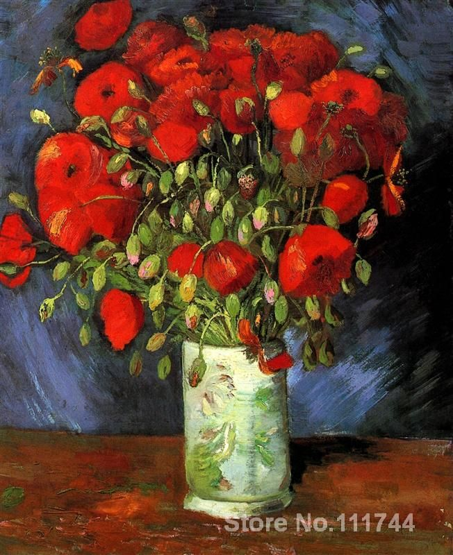 Cheap vase bead, Buy Quality vase brass directly from China vases ornaments Suppliers: Modern art Vase with Red Poppies by Vincent Van Gogh paintings for living room Hand painted High quality