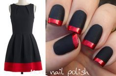 Matte Black with red foil tips, inspired by ModCloth dresses. ~ More Nail Polish. LOVE the nails matching the dress!!!! Heart ♥
