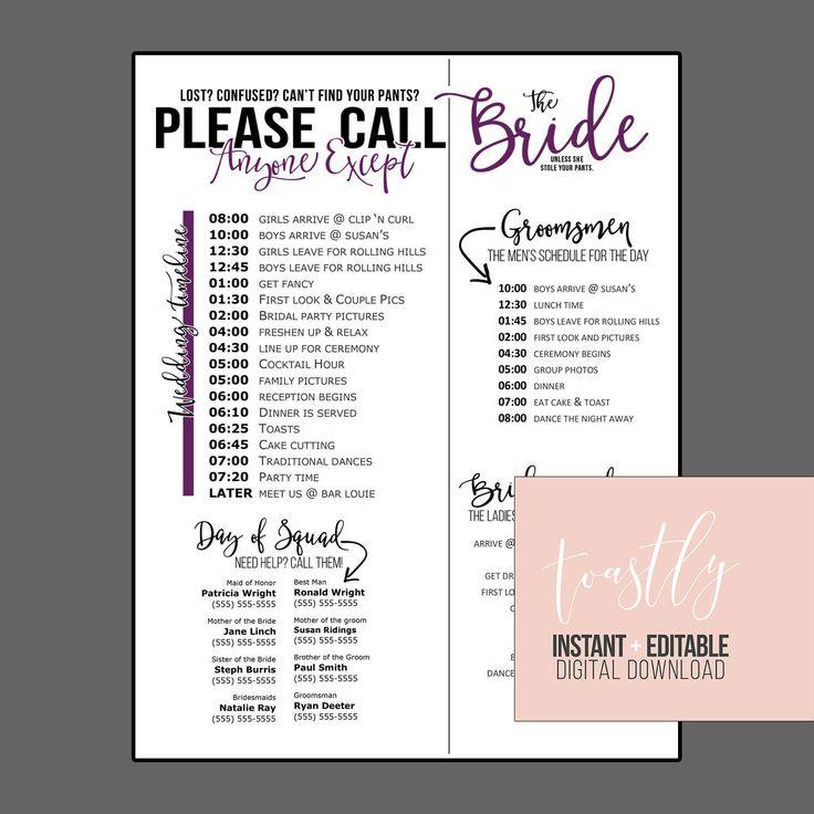 Wedding Schedule Template Purple Timeline Of Events Phone Numbers Bridesmaids And Groomsmen
