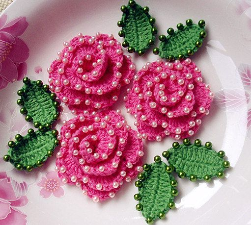 3 Crochet Flower With Pearls YH-072-02 от YHcrochet на Etsy