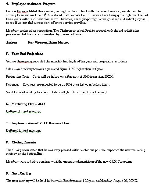 Meeting Minutes – Sample Format Pg 2.