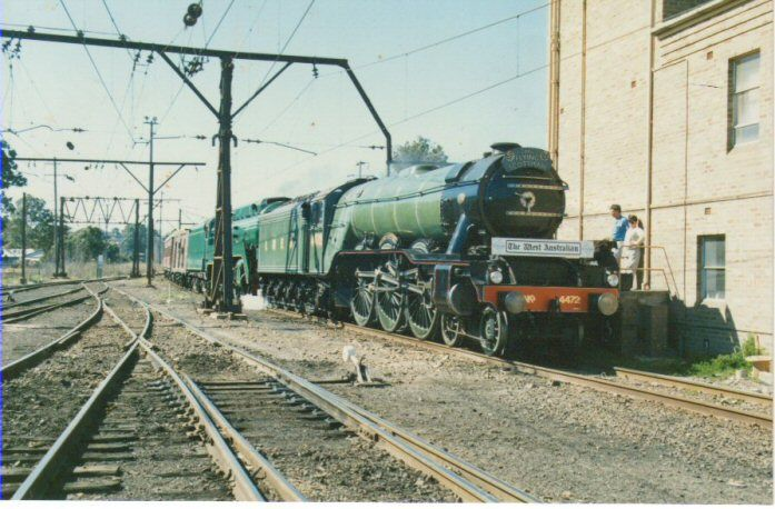 3801 and 4472 Flying Scotsman at Penrith NSW during the 1988 bi-centennial. Taken from the western end looking east toward Sydney with the sign...