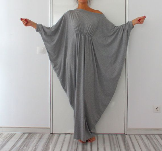 Long Grey Maxi Dress Abaya Dress Cotton by cherryblossomsdress
