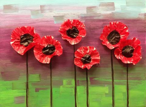 Mixed Media Poppies Kids Art Class in #GreenvilleSC