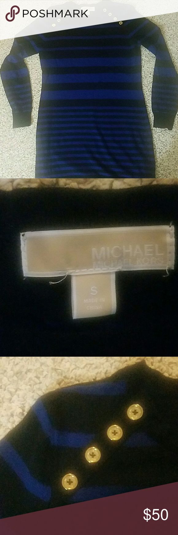 Michael Kors Small Black and Blue Long Sleeve Michael Kors black and blue striped long sleeve with golden buttons. Looks AMAZING with black leggings and boots. Perfect for fall and winter! Michael Kors Tops Tees - Long Sleeve