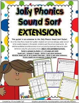 Jolly Phonics Sound Sort EXTENSION Worksheets - Books 1 -7  (An extension of Jolly Phonics Sound Sort)  This packet allows for spelling and Rebus Sentence Writing.