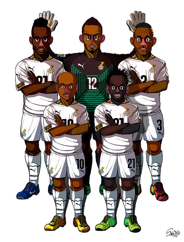 #TeamGhana #FIFA2014 Adam Kwarasey, John Boye, Asamoah Gyan, Andre Ayew, Essien by Sakiroo Choi