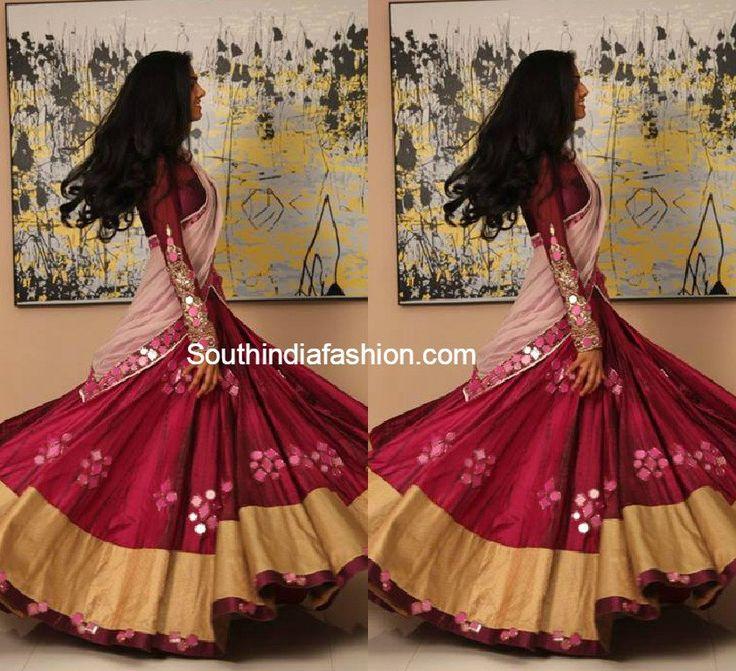 Mirror Work Half Saree, latest designer half sarees, hyderabad boutique half sarees